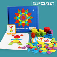 155Pcs Wooden Tangram Puzzle Building Blocks Baby Early Education Learn Toys DIY