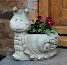Garden Ornament Plant Pot Planter Snail Animal Wildlife Decor Outdoor Indoor