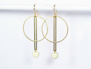 Ohrringe KREIS+STAB+SCHNEE goldene Messingohrringe geometrisch Emaille weiß