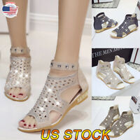 Womens Ladies Low Block Heel Glitter Sandals Ankle Round Toe Summer Shoes Zipper