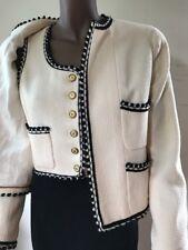 Chanel set black white ecru ivory wool tweed  jacket blazer top gold CC 38 40 M