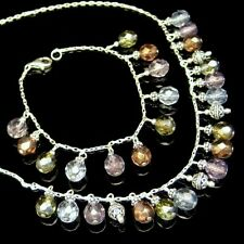 Sterling Silver Crystal Dangle Bali Beads Necklace Bracelet Set Beautiful NEW