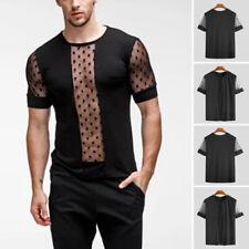Mens See Through Mesh Fishnet Short Sleeve T-shirt Party Clubwear Blouse Top Tee