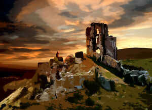 Corfe Castle Limited Print By Sarah Jane Holt