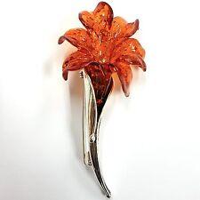 ART NOUVEAU STYLE FLOWER FAUX AMBER BROOCH 925 STERLING SILVER