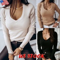 Womens Plain Ribbed V-neck T-shirt Ladies Casual Long Sleeve Slim Blouse Tops US