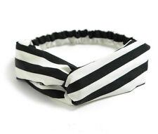Fascia per capelli elastica donna nodo elegante righe bianco nero