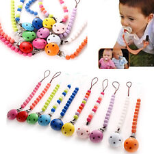 Baby Infant Toddler Dummy Pacifier Soother Nipple Shield Wood Chain Clip Holder