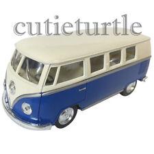 Kinsmart 1962 VW Volkswagen Classic Bus Samba 1:32 Diecast Cream Color Top Blue