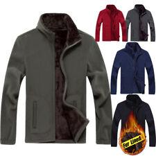 8XL Mens Fleece jacket Fur Lined Thermal coat Outdoor Stand collar Sweatshirt