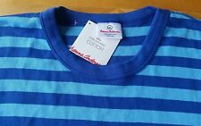 NWT HANNA ANDERSSON ORGANIC LONG JOHN PAJAMA SHIRT BLUE STRIPE MENS L WOMEN XL