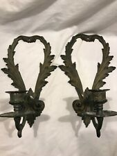 Candle Wall Sconce Set Of 2 Cast Iron & Brass Nice Patina Single Arm EUC