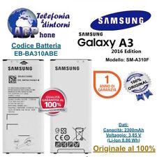 Batteria Samsung Galaxy A3 LTE 2016 A310F da 2300 mah EB-BA310ABE Originale