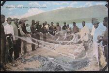Honolulu Hawaii ~ 1900's Hukilau Fishing Scene ~ Natives Holding Net with Fish!
