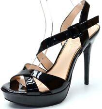 JESSICA SIMPSONS BEVERLIE Black Buckle Ankle Strap Sandal Heels Size 9.5 M