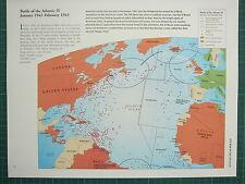 WW2 WWII MAP ~ BATTLE OF THE ATLANTIC JAN 1942 - FEB 1943 U-BOATS ALLED CONTROL