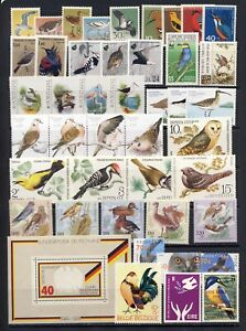 Birds on stamps from Europe mnh vf stamp collection on 2 pages
