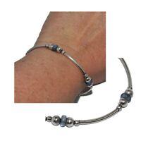 Bracelet en argent massif 925 maille ondulée verre bleu 18cm bijou