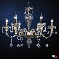 LAMPADARIO IN CRISTALLO ORO CLASSICO A 6 LUCI CON SFERE DESIGN SWAROVSKY