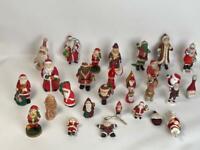 Set of 28 Mixed Lot Mini Vintage Santa Clause Figurines