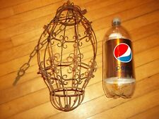 """Vintage wrought iron hanging swag lamp shade very ornate 16"""" by 8"""" nice patina."""
