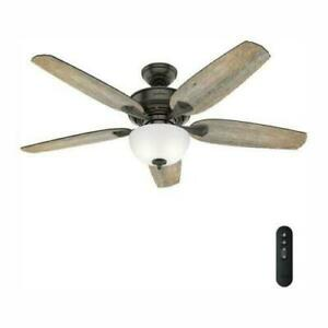 NEW!!  HUNTER Channing 54 in. LED Easy Install Noble Bronze Ceiling Fan w Remote