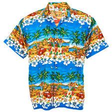 Hawaiian Shirt Aloha Chaba Car Hut Isle Holiday Sea Beach Blue S ha255c