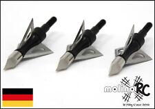 3x Pfeilspitzen schwaz   Jagdspitzen Armbrust Bogen Alu mit 3 Klingen Edelstahl
