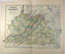 Original 1882 Map of Virginia & West Virginia by Phillips & Hunt