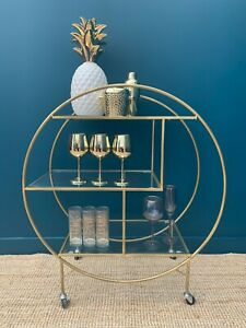 Art Deco Glam Round Gold Finished Drinks Trolley Bar Cart with 3 Glass Shelves