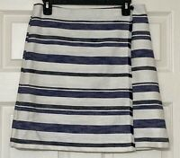 Sz 8 Ann Taylor LOFT Faux Wrap Career Skirt Blue Black White Cotton Fringe EUC