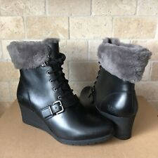 UGG Janney Black Waterproof Leather Cuff Wedge Lace-up Short Boots Size 12 Women