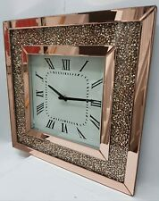 Sparkle Palace 50X50  Rose Gold Crushed Crystal Filled Diamond Wall Clock