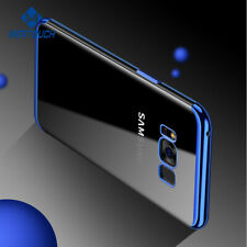 For Samsung Galaxy S8 Phone TPU Blue Cover Clear Transparent Protective Case