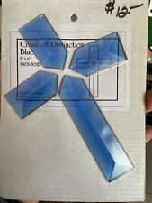 Soft Blue Beveled Cross for Stained Glass