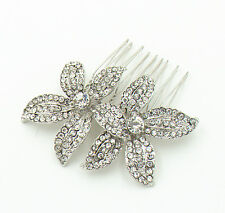Diamante Bridal White Rhinestones Two Flowers Hair Comb Wedding Accessory HA193