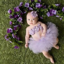 Newborn baby girls purple tutu set for photo prop 341