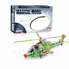Iron Commander Meccano Style DIY Metal Combat Helicopter Model Construction Set