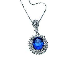 Tanzanite / White Sapphire Accents Necklace .925Sterling Silver