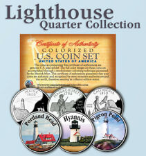 Historic American * LIGHTHOUSES * Colorized US Statehood Quarters 3-Coin Set #4