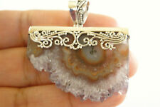 Amethyst Lace Agate Slice Crystal Cluster 925 Sterling Silver Pendant