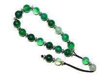 0298-Estilo Griego Suelto Encordado Rosario 10mm Verde Ágata cuentas de piedras preciosas