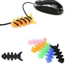 5X Cool Fish Bone Silicone Earbud Earphone Cord Cables Wrap Winder Wire Holders