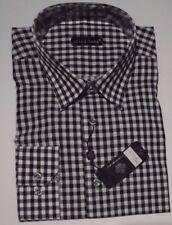 NWT Jared Lang Men Size Large Black/White Plaid Cotton, Model VERO 001 (LS-994)
