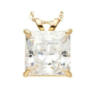 """3.00 Ct Simulated Square Princess Cut 10K Yellow Gold Pendant With 18"""" Chain"""