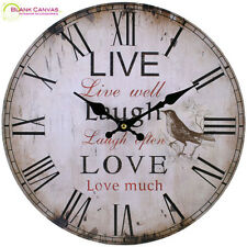 Vintage Style Shabby Chic Live Laugh Love Kitchen Wall Clock - new in box