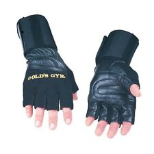 Golds Gym Wrist Wrap Leather Weight Lifting Gloves Exercise Training Support