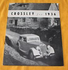 Crossley 1936 Prospekt Brochure Catalog Regis Saloon - 3 Litre Sports Saloon