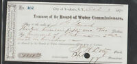 Yonkers NY Treasurer of the Board of Water Commissioners 1875 Used Check