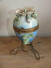 Ancienne boîte œuf en barbotine peinte - impressionniste 1900